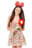 Muchacha adolescente con la flor grande Fotos de archivo libres de regalías