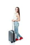 Muchacha adolescente con la maleta Foto de archivo