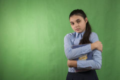 Muchacha adolescente con la pila de libros Foto de archivo