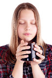 Muchacha adolescente con la taza Fotos de archivo libres de regalías