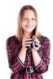 Muchacha adolescente con la taza Fotografía de archivo libre de regalías