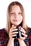 Muchacha adolescente con la taza Fotografía de archivo