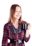 Muchacha adolescente con la taza Imagen de archivo libre de regalías