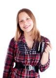 Muchacha adolescente con la taza Imagen de archivo