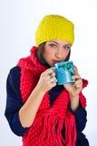 Muchacha adolescente con la taza de té Imagenes de archivo