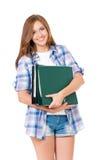 Muchacha adolescente con las carpetas Imagen de archivo