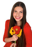 Muchacha adolescente con las flores Foto de archivo libre de regalías
