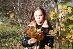 Muchacha-adolescente con las hojas de arce Imágenes de archivo libres de regalías
