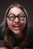 Muchacha adolescente con las lentes Fotografía de archivo libre de regalías