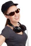 Muchacha adolescente con los auriculares Imágenes de archivo libres de regalías