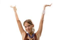 Muchacha adolescente con los brazos para arriba Fotos de archivo