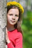 Muchacha adolescente con los dientes de león Imagenes de archivo