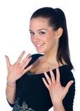 Muchacha adolescente con los tatuajes de las uñas Fotos de archivo libres de regalías