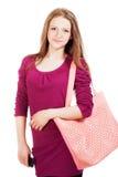 Muchacha adolescente con un bolso Imágenes de archivo libres de regalías