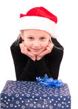 Muchacha adolescente con un regalo del Año Nuevo Fotografía de archivo