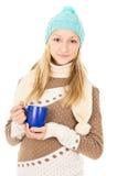 Muchacha adolescente con una taza Imagen de archivo
