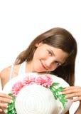 Muchacha adolescente de la sonrisa con el sombrero Imágenes de archivo libres de regalías