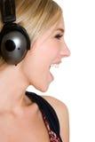 Muchacha adolescente de los auriculares Imágenes de archivo libres de regalías