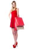 Muchacha adolescente de moda que sostiene los panieres Imagenes de archivo
