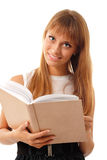 Muchacha adolescente del estudiante alegre con el libro Fotografía de archivo libre de regalías