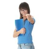 Muchacha adolescente del estudiante con la pista de nota Imagen de archivo