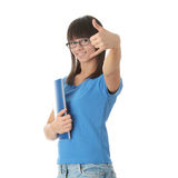 Muchacha adolescente del estudiante con la pista de nota Fotografía de archivo
