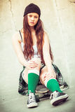 Muchacha adolescente del patinador Foto de archivo libre de regalías