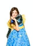 Muchacha adolescente del retrato con la decoración del día de fiesta Fotografía de archivo
