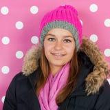 Muchacha adolescente del retrato en invierno Foto de archivo libre de regalías