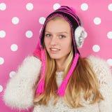 Muchacha adolescente del retrato en invierno Imágenes de archivo libres de regalías