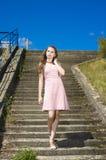Muchacha adolescente del vintage de la belleza que presenta al aire libre Imagen de archivo libre de regalías