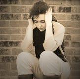 Muchacha adolescente deprimida triste Imágenes de archivo libres de regalías