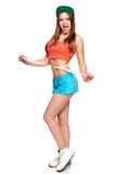 Muchacha adolescente emocionada en la situación integral que mide su cintura Fotografía de archivo