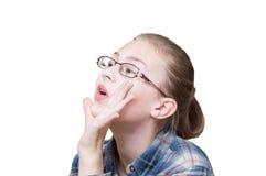 Muchacha adolescente emocional contra Imagen de archivo libre de regalías