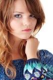 Muchacha adolescente en alineada azul Foto de archivo libre de regalías