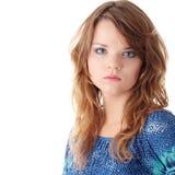 Muchacha adolescente en alineada azul Imágenes de archivo libres de regalías