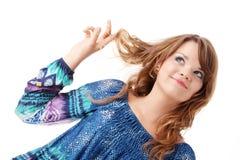 Muchacha adolescente en alineada azul Imagenes de archivo