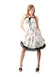 Muchacha adolescente en alineada blanca elegante Imagen de archivo