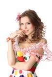 Muchacha adolescente en alineada de partido Imagen de archivo libre de regalías