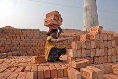 Muchacha adolescente en brick-field Foto de archivo libre de regalías
