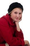 Muchacha adolescente en capa roja y negro Imagen de archivo libre de regalías