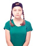Muchacha adolescente en casquillo Imagenes de archivo