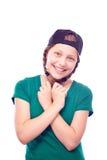 Muchacha adolescente en el casquillo que se divierte Imagen de archivo