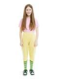 Muchacha adolescente en el fondo blanco aislado Imagen de archivo