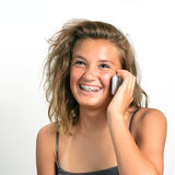 Muchacha adolescente en el teléfono celular Foto de archivo