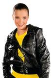 Muchacha adolescente en la chaqueta de cuero Fotografía de archivo