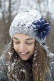 Muchacha adolescente en la nieve Imagen de archivo