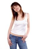 Muchacha adolescente en pantalones vaqueros Imágenes de archivo libres de regalías