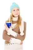 Muchacha adolescente en sombrero del invierno Imágenes de archivo libres de regalías