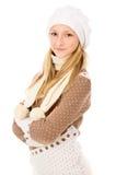 Muchacha adolescente en un casquillo del invierno Fotos de archivo libres de regalías